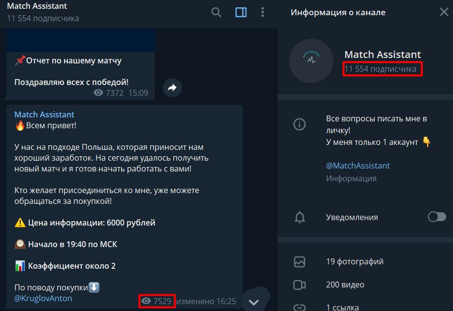 Match Assistant telegram